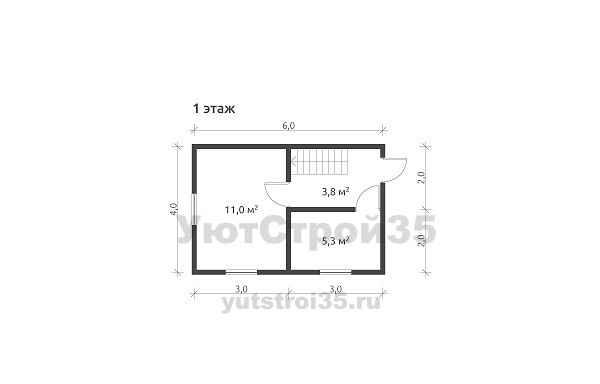 Каркасный дом 6х4 м под ключ К1