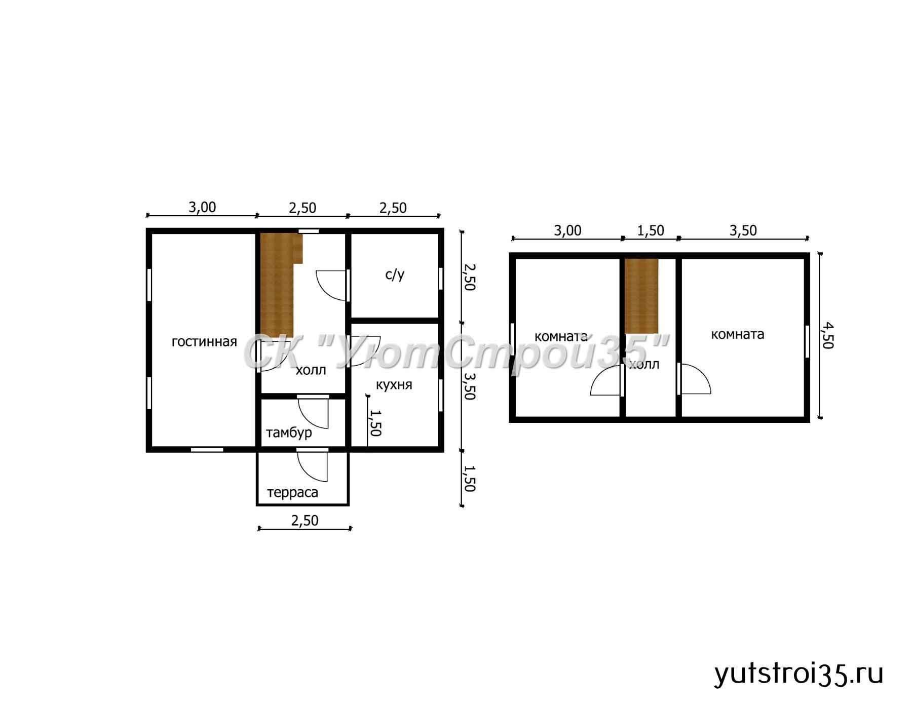 Каркасный дом 6х8 м под ключ К11