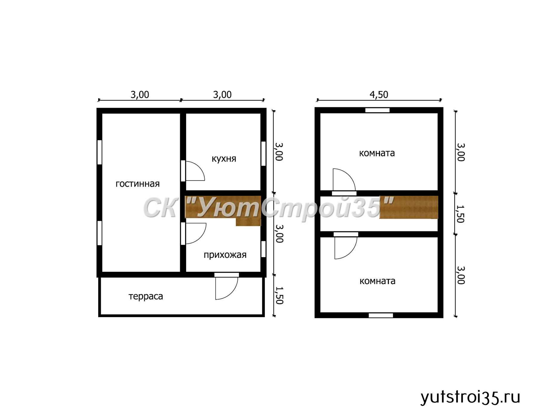 Каркасный дом 6х7.5 м под ключ К14