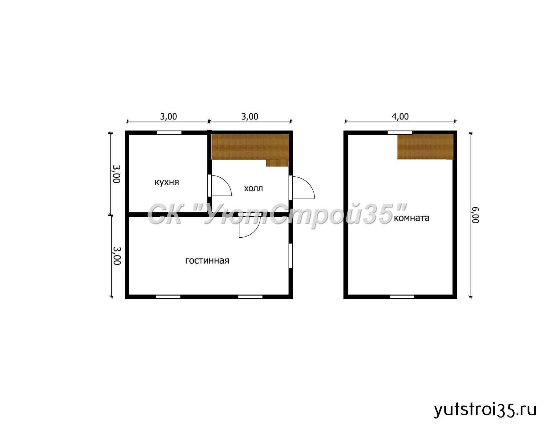 Каркасный дом 6х6 м под ключ К6